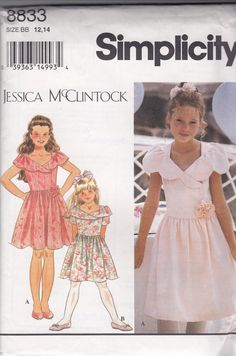 Formal Dress for Young Miss Teens -  Easter or Flower Girl Wedding Dress - Size 12-14 - UNCUT - Sewing Pattern Simplicity 8833 by Sutlerssundries on Etsy