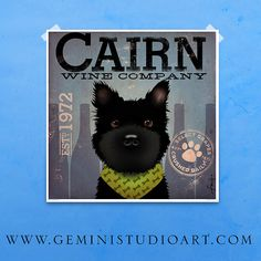 Cairn Terrier Winery Company original graphic by geministudio, $39.00