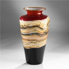 strata of earth in glass art - Google Search Red And Black Background, Hand Blown Glass, Urn, Art Google, Black Backgrounds, Sculpting, Glass Art, Create, Metal
