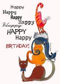 """101 Funny Cat Birthday Memes for the Feline Lovers in Your Life - 101 Funny Cat Birthday Memes – """"Happy happy happy happy happy happy happy birthday! Happy Birthday Boss Lady, Happy Birthday For Her, Happy Birthday Funny, Happy Birthday Messages, Happy Birthday Quotes, Happy Birthday Images, Birthday Wishes, Birthday Celebration, Cat Birthday Memes"""