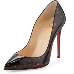 Christian Louboutin Pigalle Follies Flecked Red Sole Pump ($725) ❤ liked on Polyvore featuring shoes, pumps, heels, louboutin, red sole pumps, pointy toe high heel pumps, pointed toe high heel pumps, christian louboutin and pointy-toe pumps