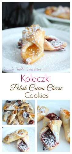 Polish Cream Cheese Cookies - these are delicious! Tips: freeze cookies and sheets before baking. Reduce butter to sticks. DO NOT OVER FILL. Brownie Desserts, Mini Desserts, Just Desserts, Coconut Dessert, Oreo Dessert, Cream Cheese Cookies, Cookies Et Biscuits, Kolache Recipe Cream Cheese, Pie Crust Cookies