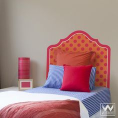 Modern Pink Orange Polka Dot Headboard for Bed Bedroom Dorm Decor for Teens Kids Girls Boys