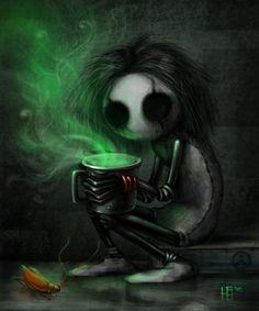 Creepy and the Green Tea by Carhven.deviantart.com