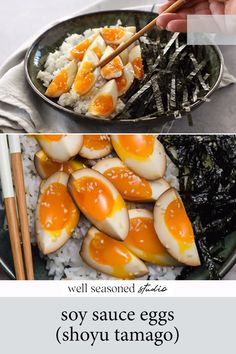 Soft boiled soy sauce eggs are the definition of umami! Eggs marinate overnight in a mixture of soy sauce, rice vinegar, sesame oil, and garlic. Best served over sticky rice with sliced green tea seaweed. An insanely flavorful breakfast, lunch, or dinner! Referred to at Japanese restaurants as Shoyu Tamago. Recipe Videos, Food Videos, Soy Sauce Eggs, Soft Boiled Eggs, Low Sodium Soy Sauce, Well Seasoned, Sesame Oil, Rice Vinegar, Seaweed