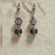 Blue Violet glass bead earrings Handcrafted with glass beads.  With premium quality accents and stainless steel hooks. Each set is thoughtfully designed.  Please consider bundling for a better deal. grlsea  Jewelry Earrings