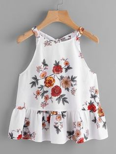 Shop Keyhole Tie Back Ruffle Hem Halter Top online. SheIn offers Keyhole Tie Back Ruffle Hem Halter Top & more to fit your fashionable needs. Spring Outfits, Kids Outfits, Casual Outfits, Cute Outfits, Girl Fashion, Fashion Outfits, Womens Fashion, Halter Tops, Dresses Kids Girl