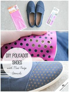 Check out how I updated my plain navy slip ons to these trendy DIY Polka Dot Shoes with the help of the Mod Podge Rocks stencils! #modpodgerocks #stencils #polkadots