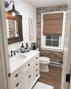 Best Rustic Bathroom Decor Ideas to Attempt in Your Home - Kids Bathroom Ideas – Enhancing kids washroom can be extremely fun. Every edge of the washroom ha - Bad Inspiration, Bathroom Inspiration, Casa Magnolia, Brick Veneer Wall, Bathroom Kids, Master Bathroom, Brick Bathroom, Bathroom Wall Ideas, Bathroom Designs