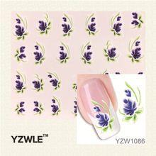 YZWLE 1 Pcs Nail Art de Água Adesivos de Unhas Beleza Wraps Foil Polonês Decalques Tatuagens Temporárias Watermark alishoppbrasil