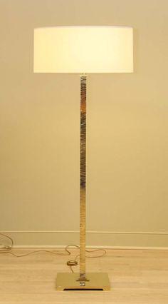 Dubai Floor Floor Lamp by Broad Beach Design. Hand-cut, sq brass base, gold French silk twisted cord.