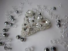 White rhinestone crystal beadwork brooch beaded brooch by LeMava