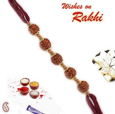 Picture of Wooden Beads and Five Rudhraksh Rakhi