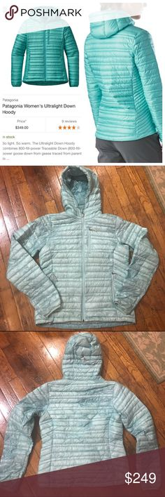 Patagonia Ultralight Down Hoody! Amazingly lightweight jacket--800-fill down but weighs less than 10 oz. and takes up almost no room, so it's great to throw in the bag as an extra layer, whether it's a climbing or backpacking trip or a walk around campus or town! Pretty Polar Blue color. The outside fabric is so thin and lightweight that you can sort of see some of the feathers inside--this is not a flaw but just the style of this jacket and a function of making it as lightweight as…