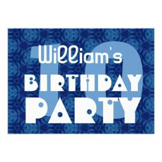 Modern 10th Birthday Party Blue Pattern For Boy Custom Invitation