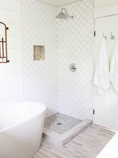 Whisper White Arabesque Mosaic Tile $10.25 Square Foot from The Builder Depot. This room was created by #makingitinthemountains.com you can look up their one room challenge and the progress of the installation from start to finish. Now I want a new bathroom in 5 days :) Rustic Master Bathroom, Shiplap Bathroom, Bathroom Flooring, Bathroom Interior, Small Bathroom, Bathroom Ideas, Bathroom Pics, Bathroom Colors, Vinyl Flooring