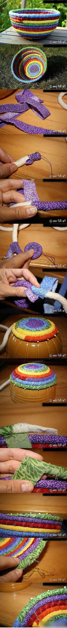 Rope basket: something to do with all those fabric scraps! Diy Projects To Try, Crafts To Make, Fun Crafts, Craft Projects, Craft Ideas, Creative Crafts, Diy Ideas, Sewing Hacks, Sewing Crafts