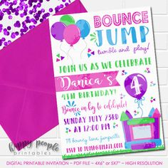 Girl Bounce House Invitation Bounce House Birthday Girly Bouncy House Party Jump Invitation Watercolor Party Printable Pink Purple