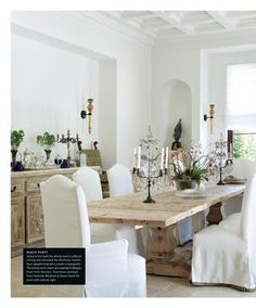 LUXE Timber dining table - refectory style - high-backed chairs w/white slip covers. Timber Dining Table, Traditional Dining Rooms, French Country Dining, Beautiful Dining Rooms, High Back Chairs, White Rooms, Room Chairs, Fabric Chairs, Home Interior Design