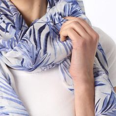Ladies' White leaf print scarf, by Style Slice, features a decadent navy tropical leaves pattern. Elegant spring or summer shawl that can be personalised with a charm or a monogram. Suitable as a gift for anniversary, birthday or any day in which to tell the woman in your life, be it a Mum, Wife, Sister or Girlfriend, that she is special. #scarf #shawl #wrap #scarves #fashion #vintage #handmade #acessories #etsy #gift #paradise #palmtree #headwrap #ootd #tropical