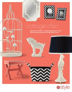 Home Trend: Cottage Chic - We love the trend of mixing graphic black and white patterns with a romantic pop of color.