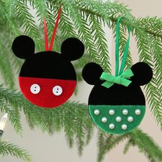 http://www.pinterest.com/clarkmamaoftwo/christmas/  Mickey and Minnie Felt Christmas Ornaments | Spoonful