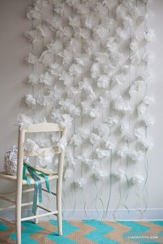 Cocktail Napkin Flower Garlands Photo Booth Backdrop | 14 Charming DIY Photo Booth Backdrops For Wedding - Inspired Bride