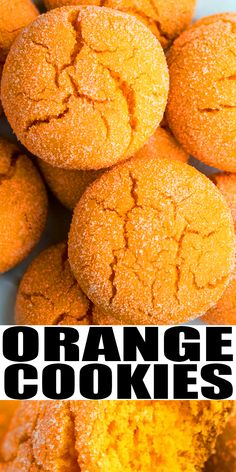 ORANGE COOKIES RECIPE- Soft and chewy, quick and easy citrus cookies, homemade with simple ingredients. A doctored cake mix recipe, loaded with orange zest, extract, juice. From CakeWhiz.com Soft Cookie Recipe, Favorite Cookie Recipe, Delicious Cookie Recipes, Holiday Cookie Recipes, Cake Mix Recipes, Best Cookie Recipes, Dessert Recipes, Holiday Baking, Dessert Ideas