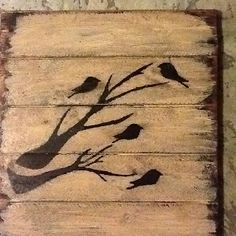 Birds on wood