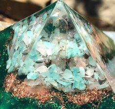 Orgonite Heart Chakra Pyramid by VioletFlameOrgoneLA on Etsy