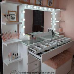 Bedroom Closet Design, Girl Bedroom Designs, Home Room Design, Beauty Room Decor, Makeup Room Decor, Mirrored Bedroom Furniture, Bedroom Furniture Design, Cute Bedroom Decor, Room Ideas Bedroom