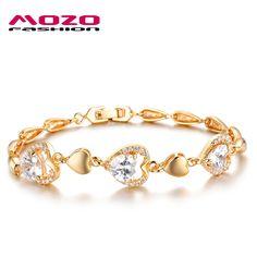 Wholesale 2016 new fashion fine jewelry women gold plated heart-shaped zircon bracelets romantic female bracelet MKS442