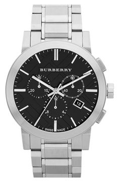 Burberry Check Stamped Chronograph Bracelet Watch | Nordstrom - for the hubby