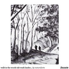walk in the woods ink wash landscape drawing plaque Ink Wash, Landscape Drawings, Walk In The Woods, Free Stock Photos, Natural, Paths, Painting, Inspiration, Products