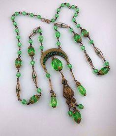 BIG Vtg Art Deco Renaissance FACE Czech Green Glass Bead Brass Sautoir Necklace #Flapper