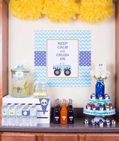 Boy's Monster Truck Birthday Party Drink Station