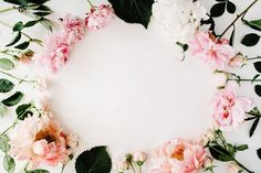#Floral frame with peonies and roses  Round frame wreath pattern with roses peonies branches and leaves isolated on white background. Flat lay composition for bloggers magazines websites social media business owners and artists. This purchase includes one horizontal digital image. Image is a sRBG jpg and is approximately 5576x3717 pixels. Some more floral frame compositions here: http://ift.tt/29WABSO License terms: http://ift.tt/1W9AIer