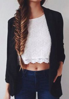 #summer #fashion / white lace crop