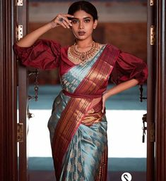 Image may contain: 1 person, standing South Indian Wedding Saree, South Indian Sarees, Khadi Saree, Silk Sarees, Saree Blouse, Wedding Silk Saree, Bridal Sarees, Saree Color Combinations, New Blouse Designs