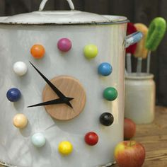 No wall space? No problem. Stick this magnetic clock on any metal surface.