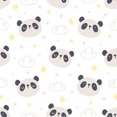 Cute Panda Bear And Stars Seamless Pattern Background Cute Panda Wallpaper, Bear Wallpaper, Wallpaper Iphone Cute, Disney Wallpaper, Kids Prints, Baby Prints, Nursery Prints, Panda Background, Baby Panda Bears