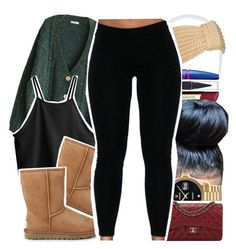 """""""Untitled #119"""" by theoneandonlylexi ❤ liked on Polyvore featuring Mixit, Maybelline, H&M, Clarins, UGG Australia, Rolex and Chanel"""