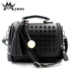 Mynos Tassel Women Leather Handbag Messenger Bag Designer Rivet Shoulder Bags Ladies Crossbody Top-Handle Bags Sac a Main Bolsos