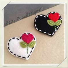 Sweet Heart White or Black Wool Felt Baby Snap Hair Clip