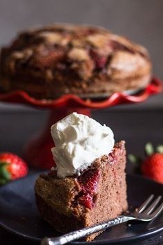 This Strawberry Chocolate Cake is so easy and moist.  Nothing better than the combination of chocolate and strawberries.  Make this simple Chocolate Strawberry cake a little more special by adding a dollop of whipped cream. #strawberries #chocolate #cake #dessert #valentine'sday