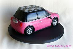 Mini Car Cake - how cool! Racing Cake, Race Car Cakes, Fondant Cakes, Cupcake Cakes, 3d Cakes, Mini Cooper Cake, Car Shaped Cake, Pink Mini Coopers, Cake Templates