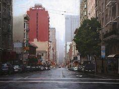 Rain on Post Street II /36inx48inOil on Panel by Greg Gandy