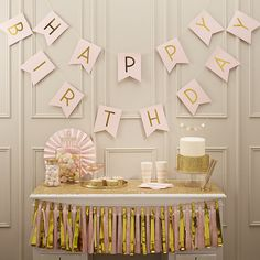 AmazonSmile: Ginger Ray Pastel Perfection and Gold Foiled Happy Birthday Bunting Banner, Pink: Kitchen & Dining