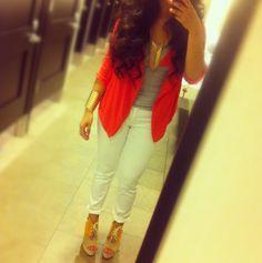 white pants, coral flyaway blazer