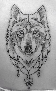Wolf tattoo • Dot work • #tattoo #wolf #dotwork